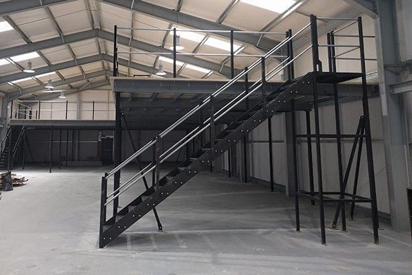 New mezzanine flooring installed into a warehouse space